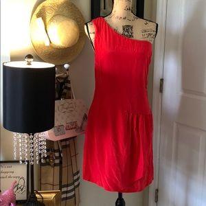 Miss me one  shoulder silk red dress
